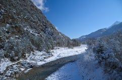 Vue d'hiver de Fella River Valley Photographie stock libre de droits