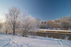 Vue d'hiver sur la rivière Photographie stock libre de droits