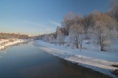 Vue d'hiver sur la rivière Image stock