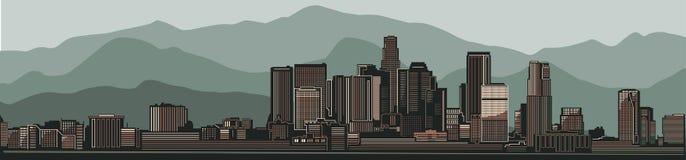 Vue d'horizon de ville de Los Angeles Rétro fond vert pâle de montagne illustration libre de droits