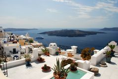 Vue d'horizontal dans Santorini Photos libres de droits