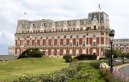 Vue d'Hotel du Palais à Biarritz image stock