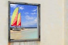 Vue d'hublot d'Illetes de chat de hobie de plage de Formentera Images libres de droits