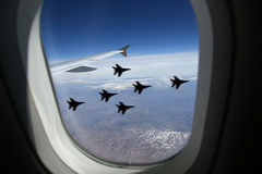 Vue d'hublot de bloc d'éclairage d'aéronefs Photographie stock libre de droits