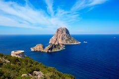 Vue d'Ibiza es Vedra de tour de DES Savinar de Torre Photo stock
