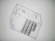 vue 3D isométrique d'une salle de classe Image stock
