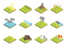 Vue 3d isométrique réglée de concept de catastrophe de nature Vecteur illustration libre de droits