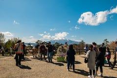 Vue d'Iwaki de bâti de parc de château de Hirosaki Image libre de droits