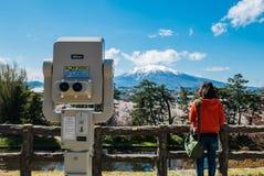 Vue d'Iwaki de bâti de parc de château de Hirosaki image stock