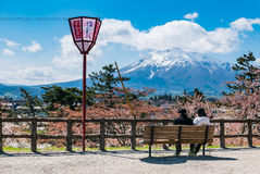 Vue d'Iwaki de bâti de parc de château de Hirosaki photo stock