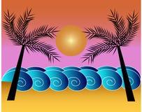 Vue d'océan avec des paumes illustration libre de droits