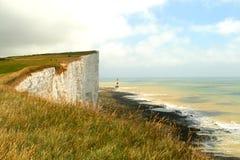 Vue d'océan blanche de falaises Images libres de droits