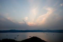 Vue d'océan de bâti Hakodate photos libres de droits