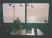 Vue d'océan de Motorhome photographie stock