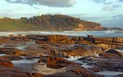 Vue d'océan dans le lever de soleil tôt, Yamba Australie Photos stock