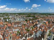 Vue d'oeil d'oiseau au-dessus d'Ulm, tir de la tour de l'abbaye images stock