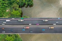 Vue d'oeil d'oiseau de pont Images libres de droits