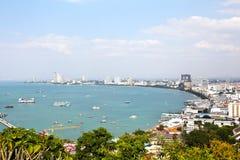 Vue d'oeil d'oiseau de ville de Pattaya Image libre de droits