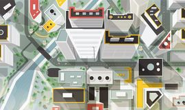 Vue d'oeil de dessus, d'antenne ou d'oiseau s de ville avec des bâtiments d'architecture moderne, de gratte-ciel, de rues, de riv illustration libre de droits