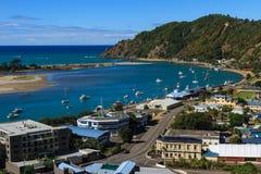 Vue d'oeil de ` d'oiseaux de la ville de Whakatane, Nouvelle-Zélande Photographie stock