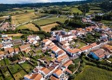 Vue d'oeil du ` s d'oiseau de Maia sur l'île de San Miguel, Açores, Portugal Voyage photo libre de droits