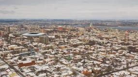 Vue d'oeil d'oiseau d'horizon de ville de Dnipro Fond de paysage urbain d'hiver photo libre de droits