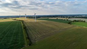 Vue d'oeil d'oiseaux - site énergétique renouvelable images libres de droits