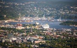 Vue d'oiseau d'Oslo Images libres de droits