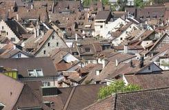 Vue d'oiseau d'une vieille ville suisse Schaffhausen photos libres de droits