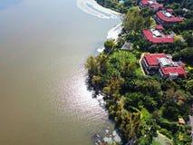 Vue d'oiseau de lac Qionghai dans le ¼ ŒChina de Xichangï Photos stock