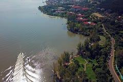Vue d'oiseau de lac Qionghai dans le ¼ ŒChina de Xichangï Photo libre de droits