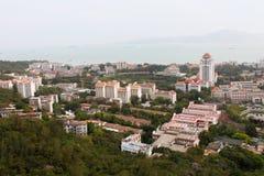 vue d'Oiseau-oeil de campus universitaire de Xiamen, Chine du sud-est Photos stock