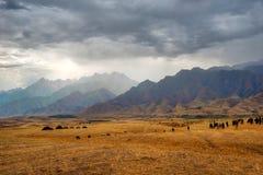 Vue d'orage vers le Kirghizistan dans la prise du sud de Kazakhstan image stock