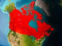 Vue d'orbite de Canada Photographie stock libre de droits