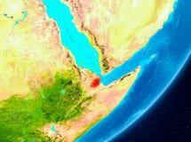 Vue d'orbite de Djibouti en rouge illustration de vecteur