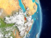 Vue d'orbite de Djibouti en rouge Photo stock