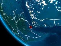 Vue d'orbite de Djibouti la nuit Images stock