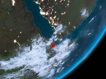 Vue d'orbite de Djibouti la nuit Image stock