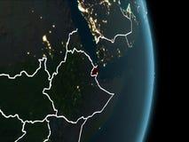 Vue d'orbite de Djibouti la nuit illustration de vecteur
