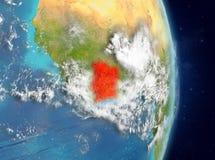 Vue d'orbite de la Côte d'Ivoire en rouge Image libre de droits