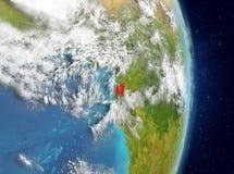 Vue d'orbite de la Guinée équatoriale en rouge Image libre de droits
