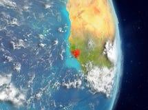 Vue d'orbite de la Guinée-Bissau en rouge Photos libres de droits