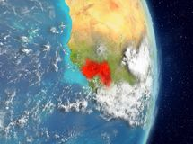 Vue d'orbite de la Guinée en rouge Image libre de droits
