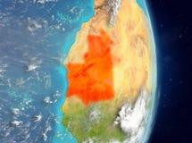 Vue d'orbite de la Mauritanie en rouge Images libres de droits