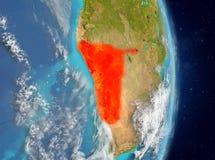 Vue d'orbite de la Namibie en rouge Image libre de droits