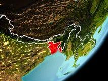 Vue d'orbite du Bangladesh Images stock