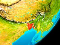 Vue d'orbite du Bangladesh Images libres de droits