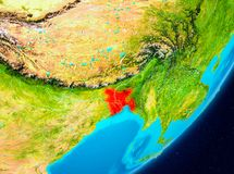 Vue d'orbite du Bangladesh en rouge Images stock