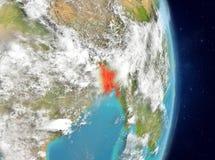 Vue d'orbite du Bangladesh en rouge Photos libres de droits