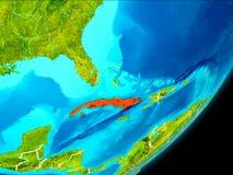 Vue d'orbite du Cuba Photographie stock libre de droits